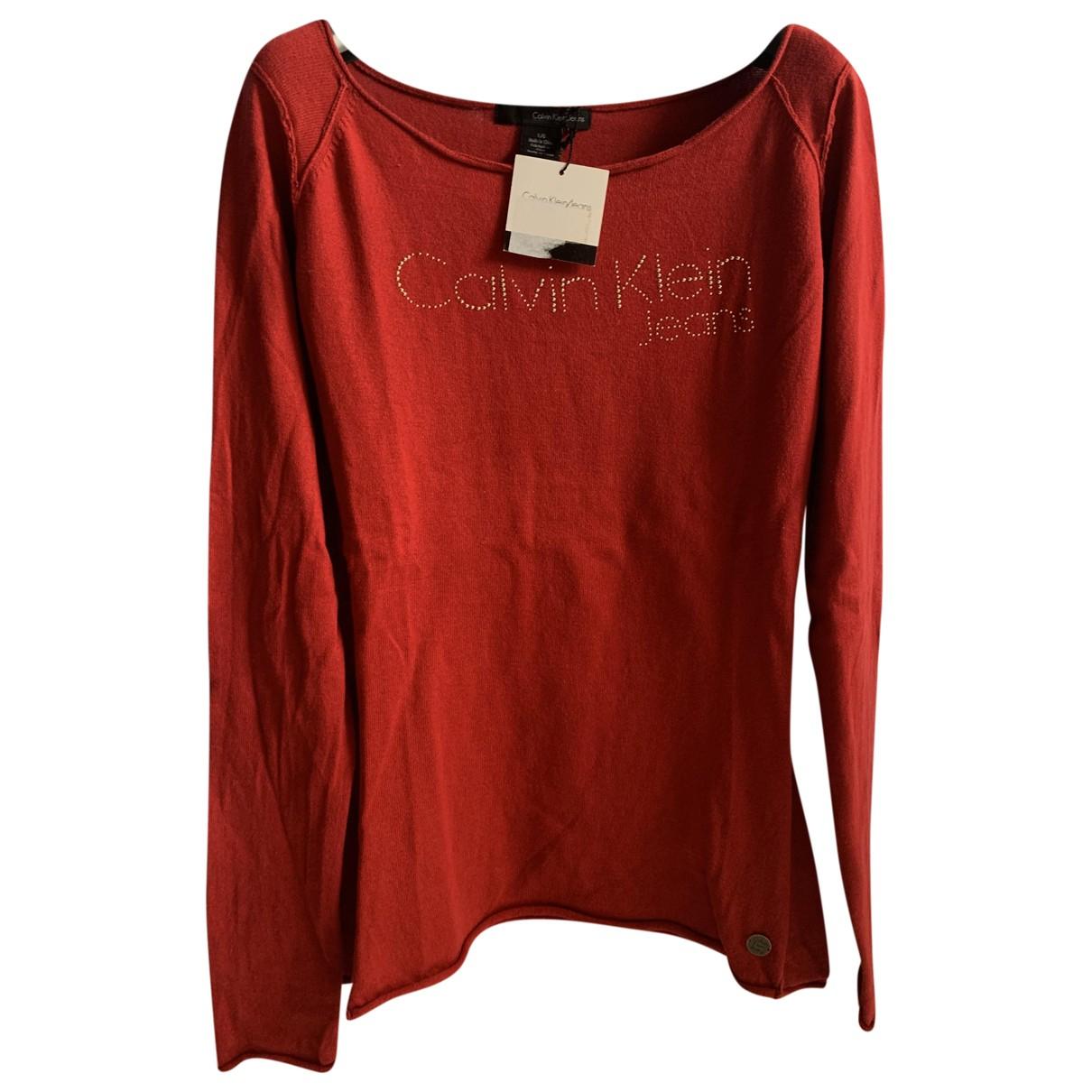 Calvin Klein - Pull   pour femme en coton - rouge