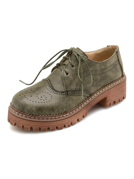 Milanoo Women\'s Oxfords Retro Distressed Round Toe Lace Up Vintage Shoes