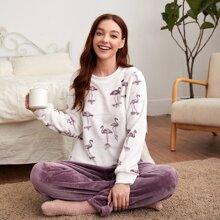 Schlafanzug Set mit Flamingo Muster