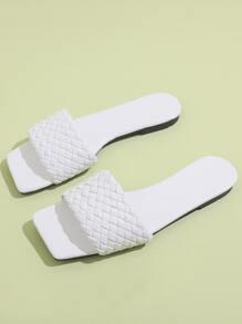 Braided Wide Fit Slide Sandals