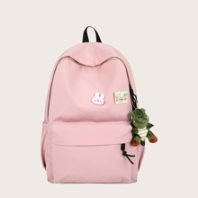 Girls Minimalist School Bag With Cartoon Bag Charm