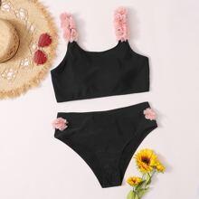 Grosse Grossen - Bikini Badeanzug mit Applikationen und hoher Taille