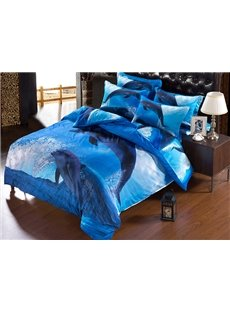 3D Jumping Dolphin Printed Polyester 5-Piece Blue Comforter Sets