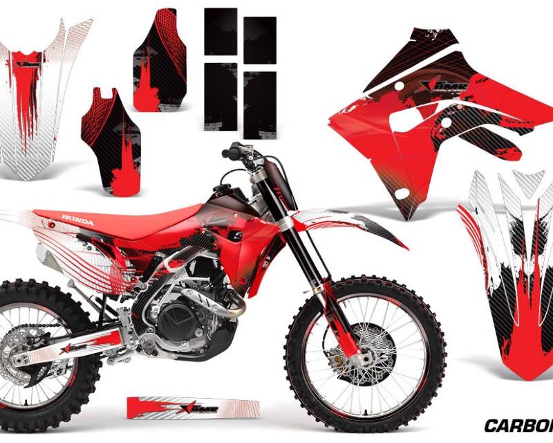 AMR Racing Graphics MX-NP-HON-CRF450R-CRF450RX-17+-CX R Decal Sticker Wrap + # Plates For Honda CRF450R | CRF450RX 2017+áCARBONX RED