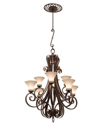 Mirabelle 5188AC/1356 8-Light Chandelier in Antique Copper with Travertine Standard Glass
