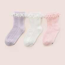 3pairs Toddler Girls Lace Trim Socks