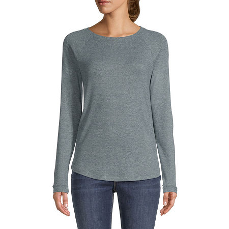 St. John's Bay-Womens Round Neck Long Sleeve T-Shirt, Petite Large , Green