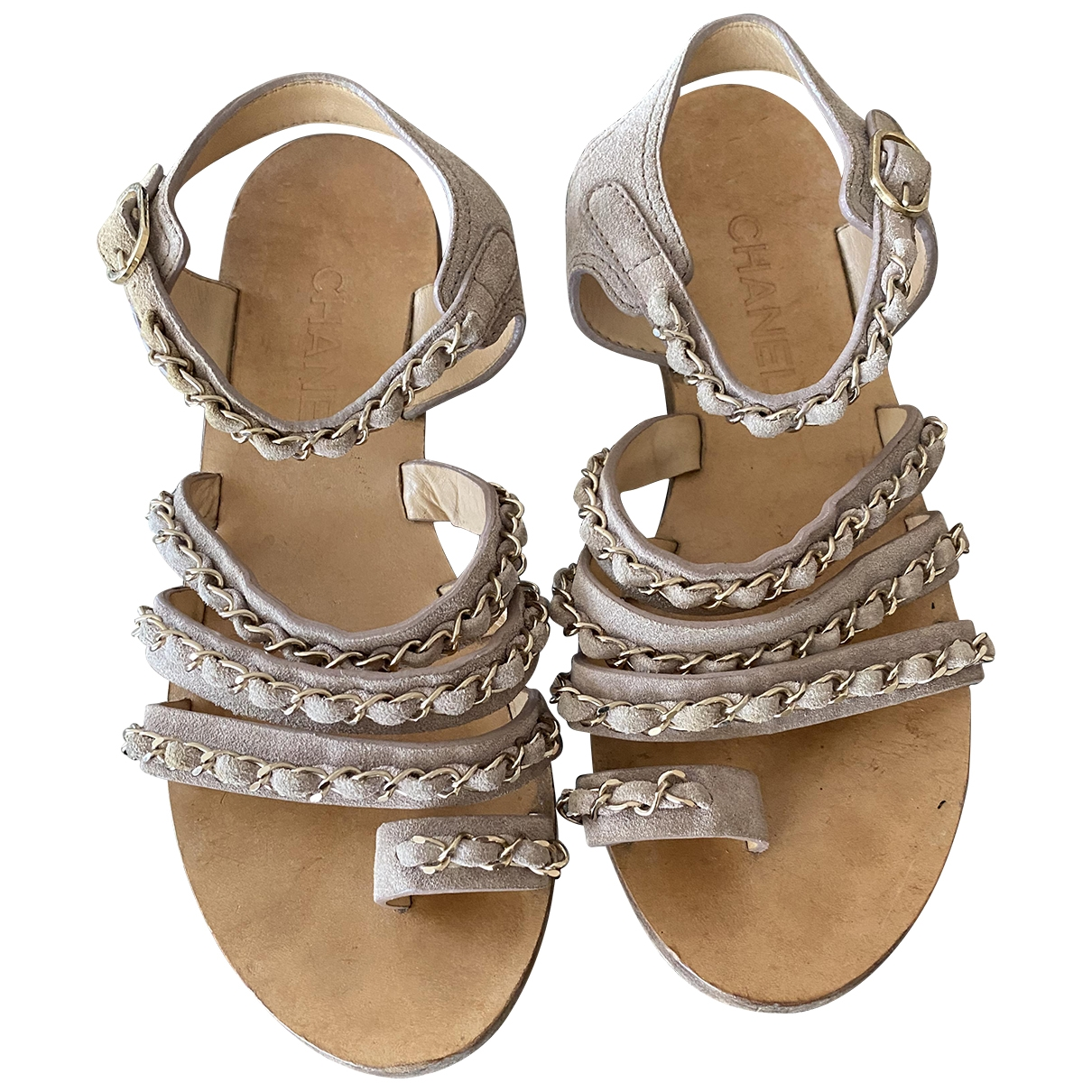 Chanel \N Beige Suede Sandals for Women 38.5 EU