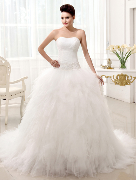 Milanoo Chapel Train Ivory Bridal Wedding Dress with Strapless A-line Strapless Sequin