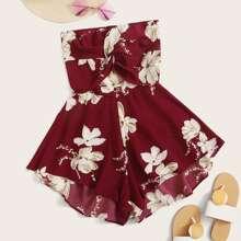 Floral Print Twist Front Tie Back Bandeau Jumpsuit