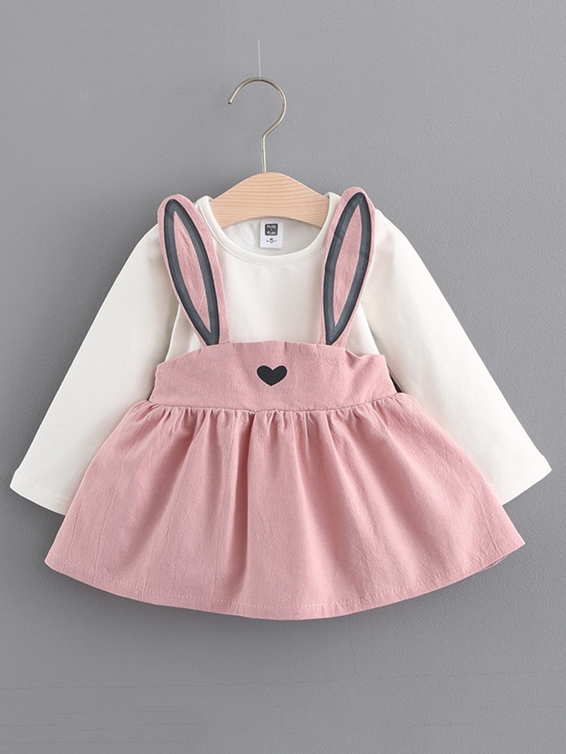 Ericdress Lovely Rabbit Suspenders Patchwork Baby Girls Dress