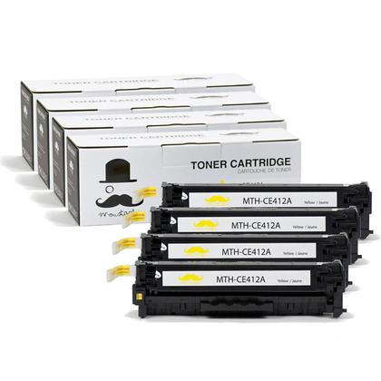 Compatible HP 305A CE412A cartouche de toner jaune - Moustache@ - 4/paquet