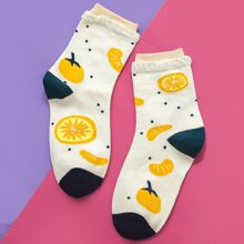 Calcetines con patron de fruta