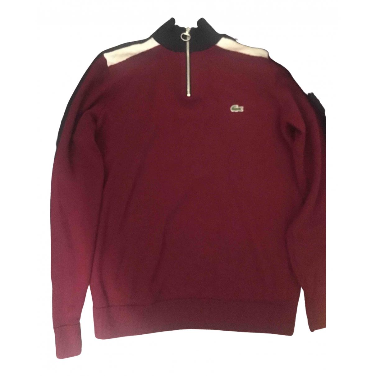 Lacoste \N Pullover.Westen.Sweatshirts  in  Bordeauxrot Baumwolle