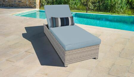 Fairmont Collection FAIRMONT-W-1x-SPA Wicker Patio Chaise with Wheels - Beige and Spa