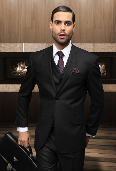 Mens Slim 2 Button Black Vested Suit Comes With Free Shirt and Tie