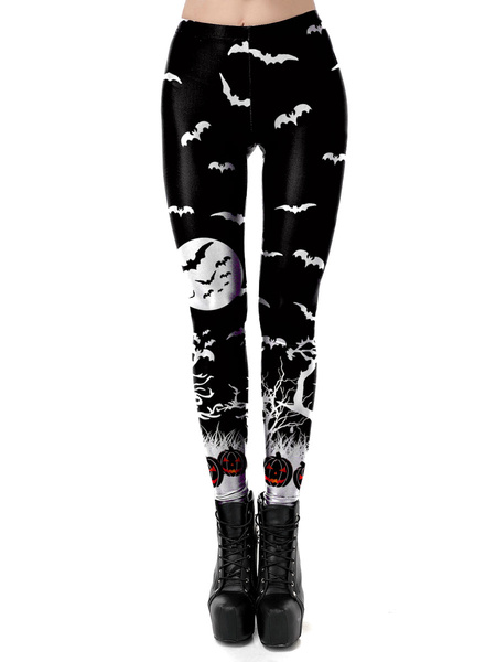 Milanoo Women\'s Halloween Costumes Black Stretch Pants Polyester Skinny Holidays Costumes