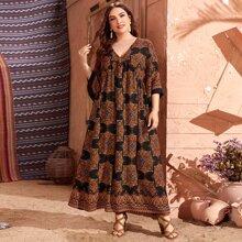 Plus Mandala Print V-neck Smock Dress