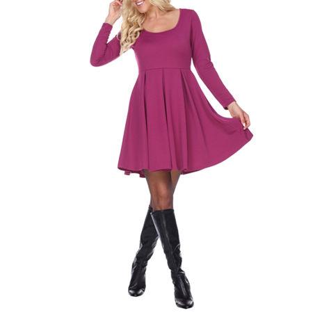 White Mark Jenara Long Sleeve Fit & Flare Dress, X-large , Purple