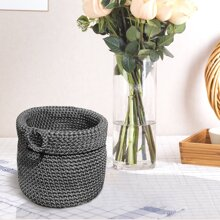 1pc Solid Crochet Storage Basket