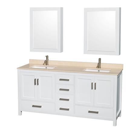 WCS141472DWHIVUNSMED 72 in. Double Bathroom Vanity in White  Ivory Marble Countertop  Undermount Square Sinks  and Medicine