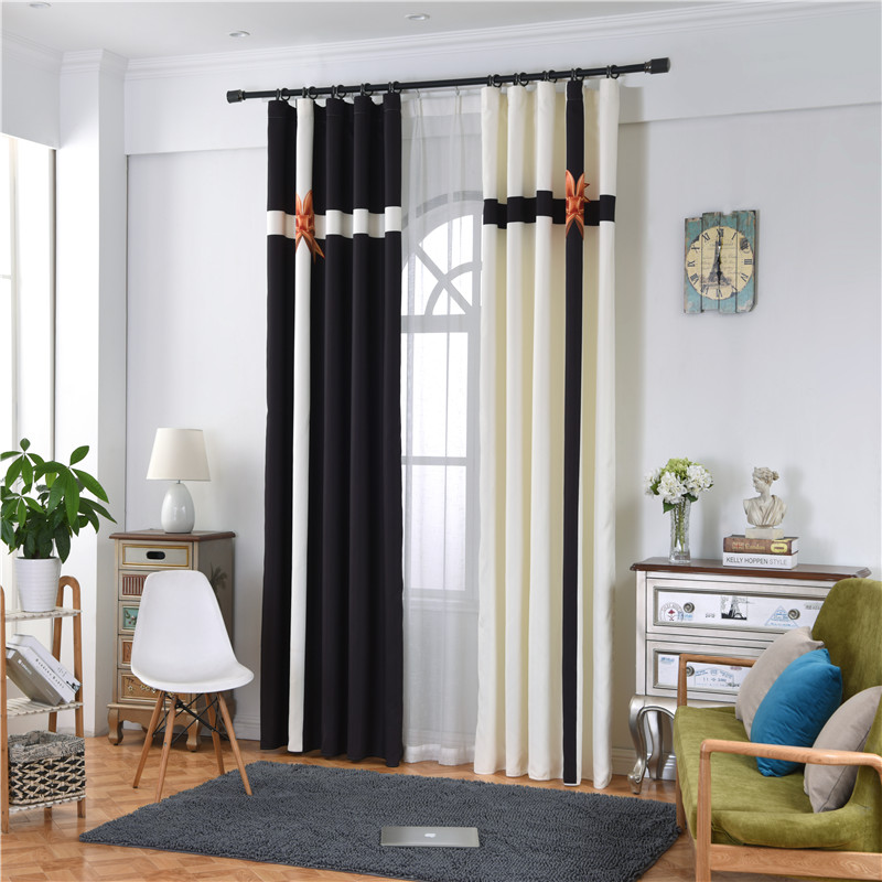Blackout and Decoration Polyester Digital Printing Classical Black and White Color Curtain