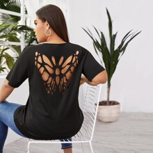 Grosse Grossen - T-Shirt mit Schmetterling Muster und Hohlen hinten