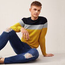Men Cut And Sew Panel Sweater