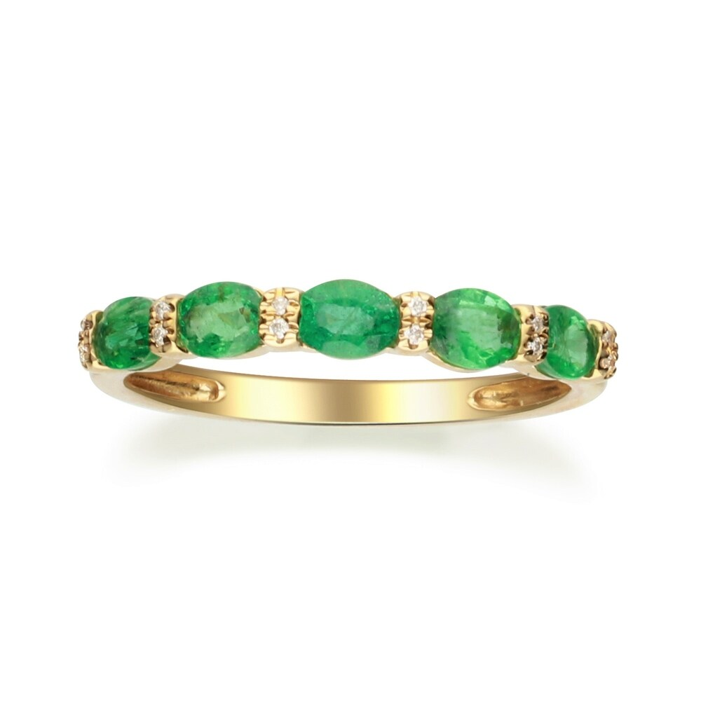 10K Yellow Gold Emerald & Diamond Ring by Anika and August - White (6)