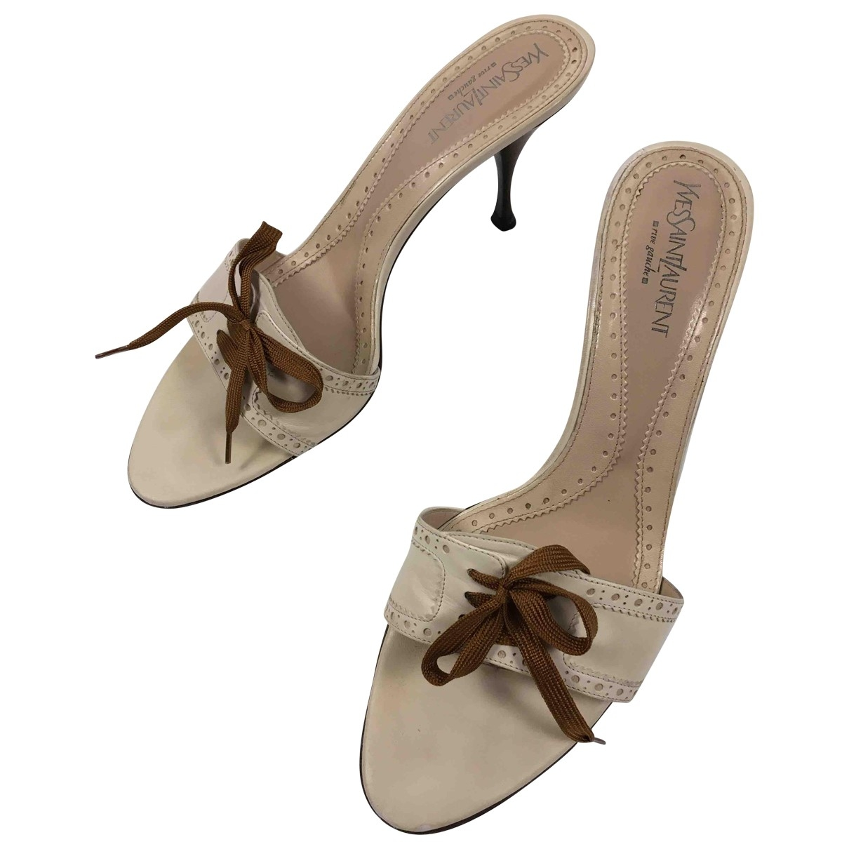 Yves Saint Laurent \N Sandalen in  Ecru Leder