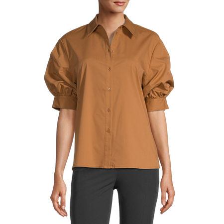 Worthington Womens Short Sleeve Poplin Blouse, Large , Brown