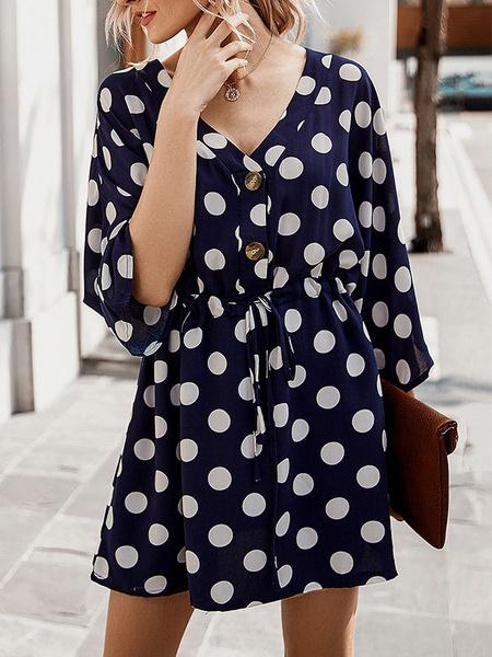Milanoo Vestido de verano de lunares con cuello en V Vestido de playa con botones