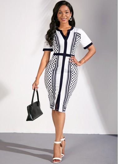 Party Dress Split Neck Square Dot Print Color Block Dress - L