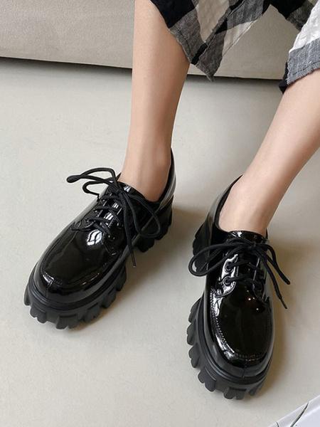 Milanoo Women Black Round Toe Flatform Lace Up Oxfords