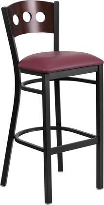 XU-DG-60516-WAL-BAR-BURV-GG HERCULES Series Black Decorative 3 Circle Back Metal Restaurant Bar stool - Walnut Wood Back Burgundy Vinyl