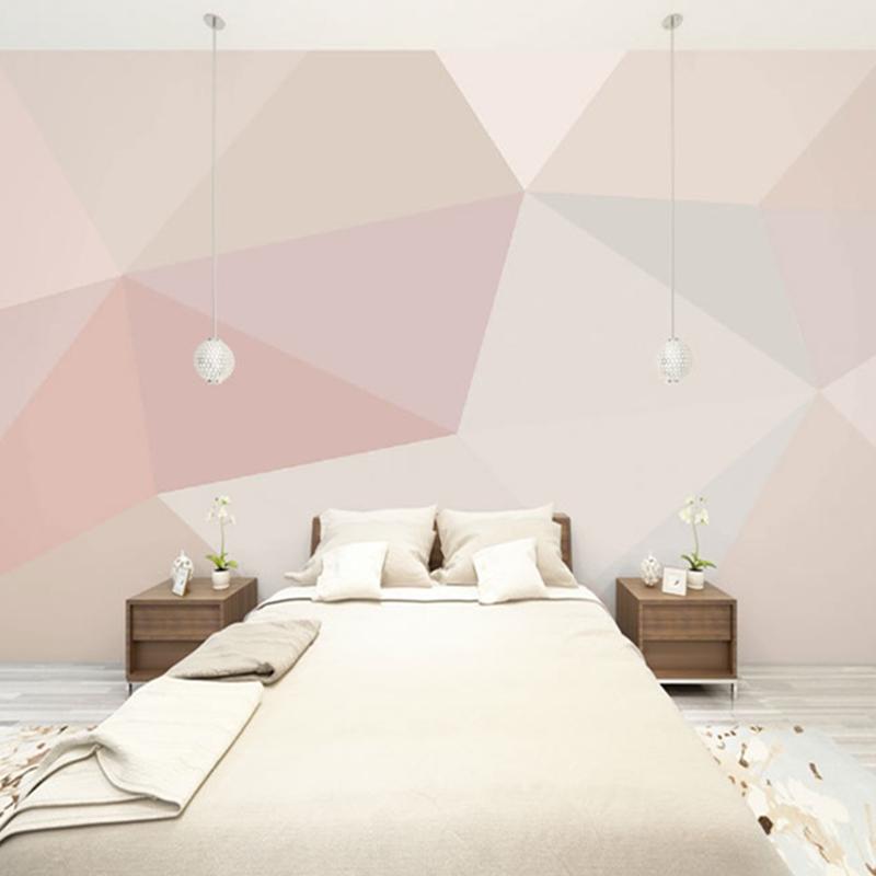 Simple Pink Waterproof Environment Friendly Non-woven Fabrics 3D Wall Murals/Wallpaper