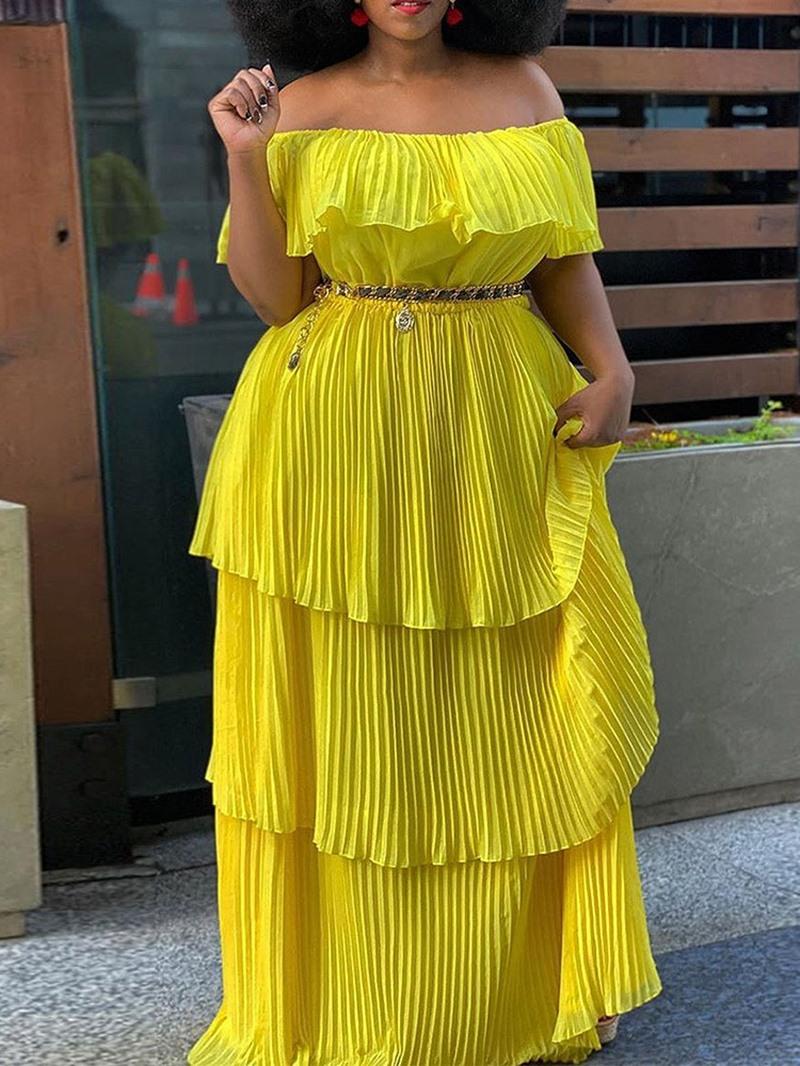 Ericdress Floor-Length Short Sleeve Off Shoulder Cold Shoulder Summer Dress