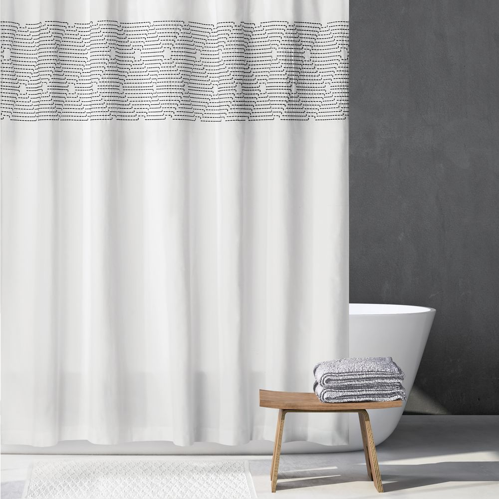 mDesign Striped Embroidered Cotton Shower Curtain, in White/Black, 72