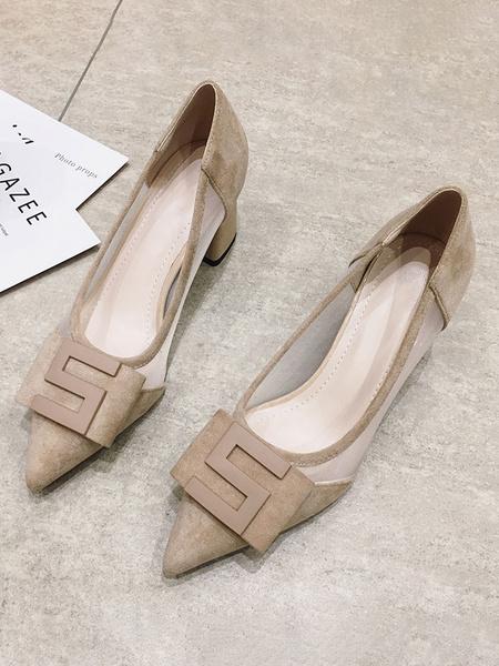 Milanoo Zapatos de tacon con tacon de bloque negro Zapatos de tacon bajo con punta estrecha Zapatos de mujer