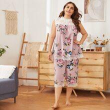 Conjunto de pijama top con estampado floral con encaje con shorts - grande