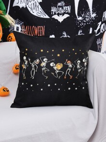 Halloween Skull Print Cushion Cover Without Filler