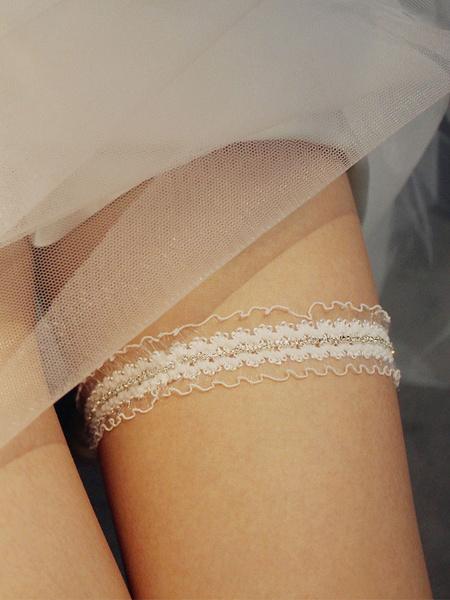 Milanoo Bridal Wedding Garter Gorgeous Tulle Rhinestones