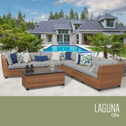 LAGUNA-08a-GREY Laguna 8 Piece Outdoor Wicker Patio Furniture Set 08a with 2 Covers: Wheat and