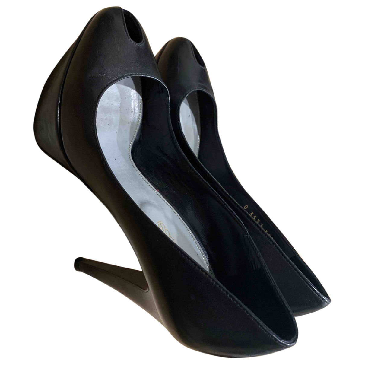 Sergio Rossi N Black Leather Heels for Women 2.5 UK