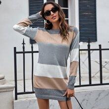 Color Block Soft Knit Sweater Dress