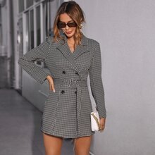 Notch Collar Double Button Buckle Belted Houndstooth Blazer