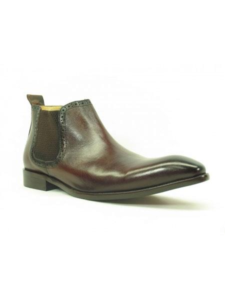 Men's Burnished Calfskin Slip-On Brown Low-Top Chelsea Boots