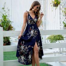 Kleid mit Kreuzgurte und Blumen Muster