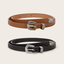 Cinturon con hebilla con textura 2 piezas