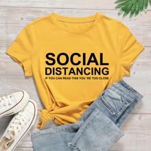 Gelb  Schriftzug  Laessig T-Shirts Grosse Grossen